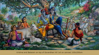 Кришна - синий, Баларама, его брат - белый, их друзья пастухи - тёмные, индусы