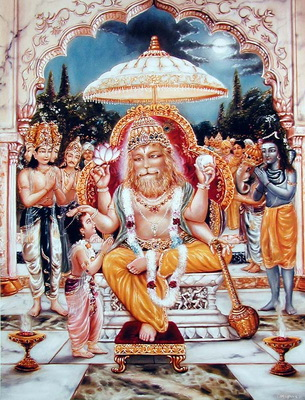 Явление Нрисимхадева - одного из проявлений Всевышнего. Обратите внимание на цвет кожи окружающих людей